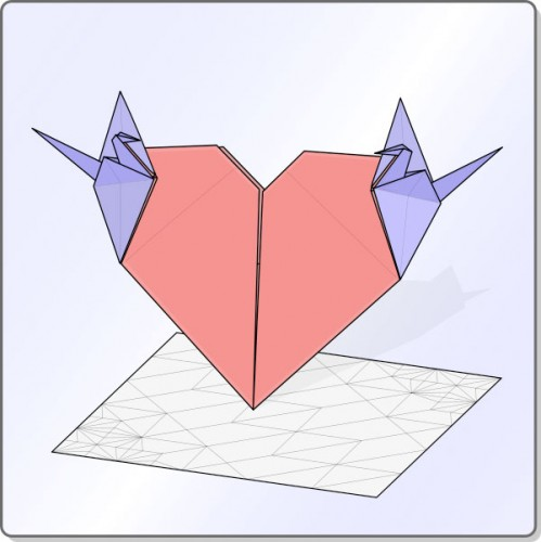 Heart with cranes